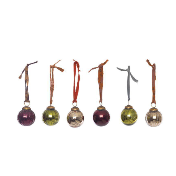 Set of 6 Zia Coloured Glass Christmas Baubles by Nkuku - A Fly Went By