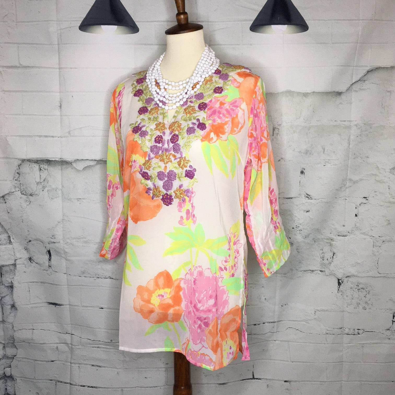 Georgette Hand Embroidered Tunic - Orange Pink – Kennoy Kreations