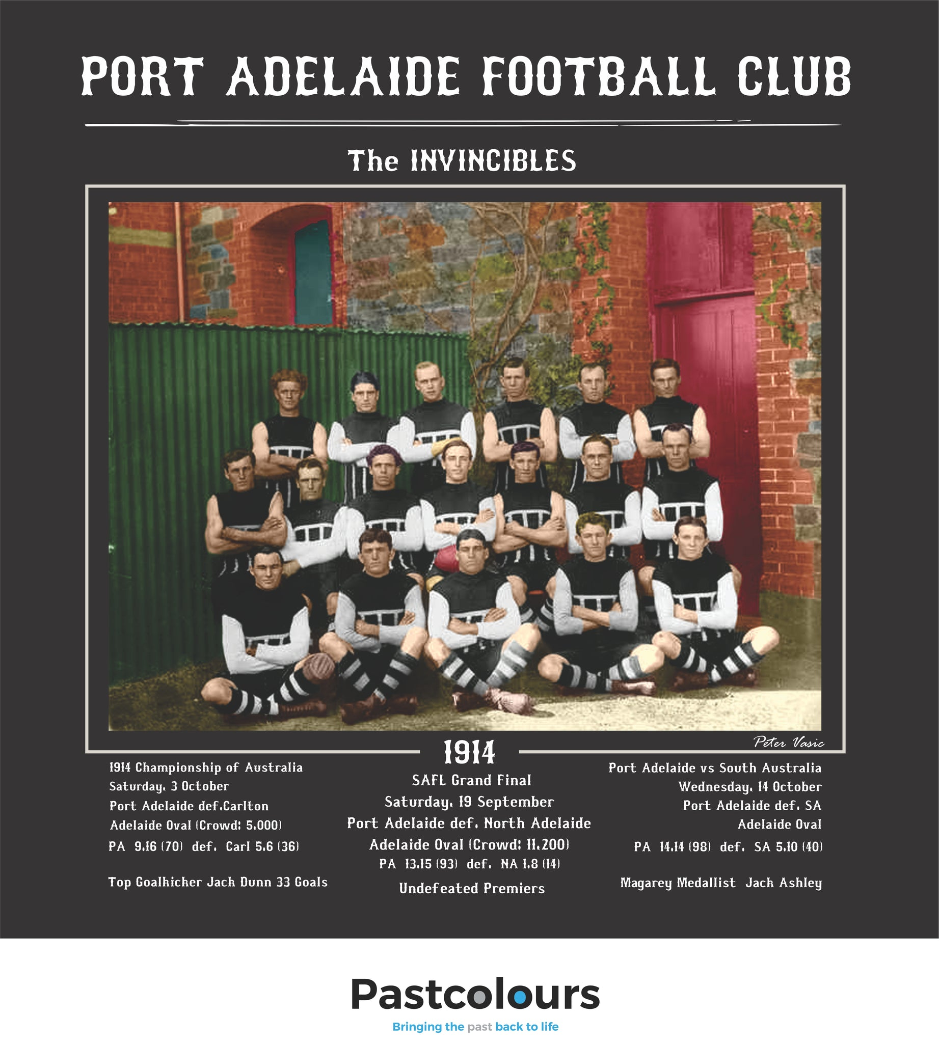 Port Adelaide Football Club 1914: The Invincibles-In COLOUR.