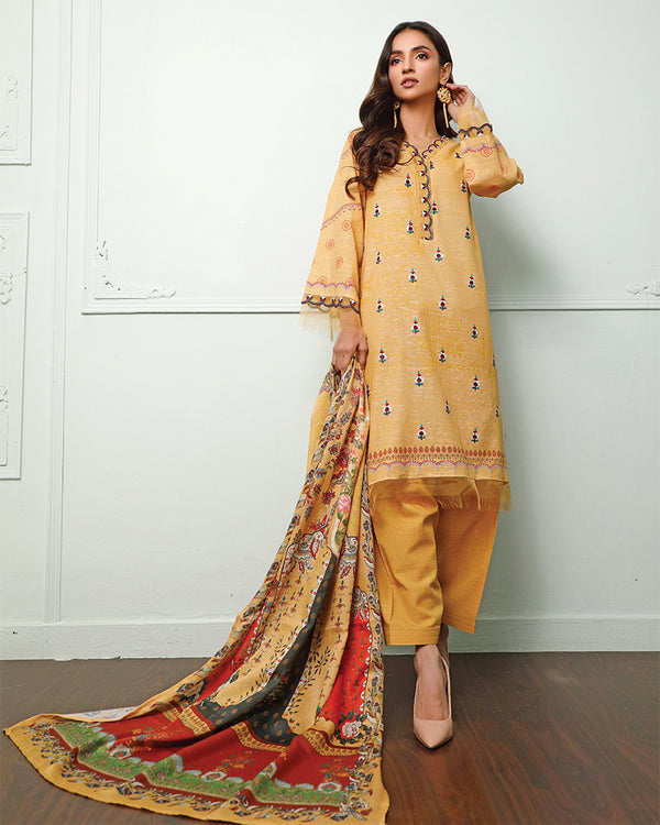 Embroidered Khaddar Suit (NEP-20905) 3 Pcs