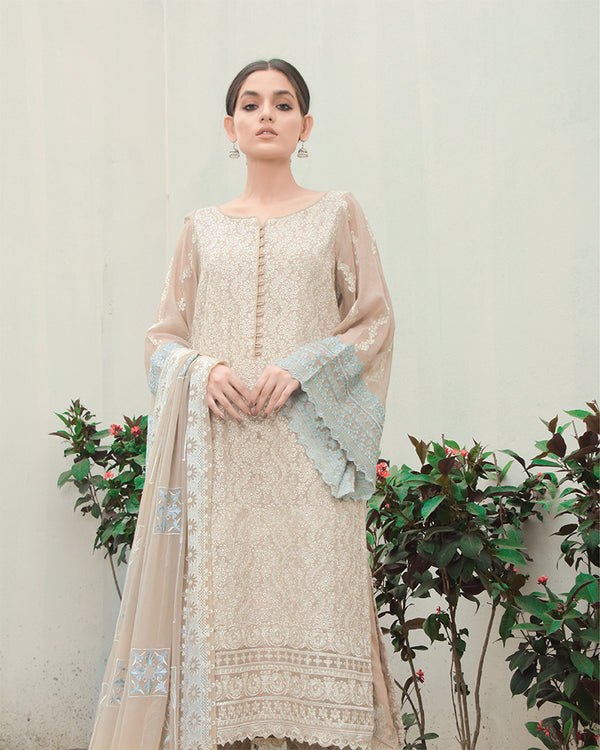 Reed Embroidered Cotton Net 3Pc NEL-21616