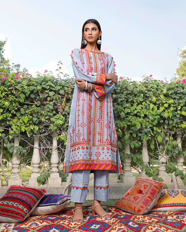 Khaddar Embroidered Full Suit -2 Pcs  (NEL-20639)