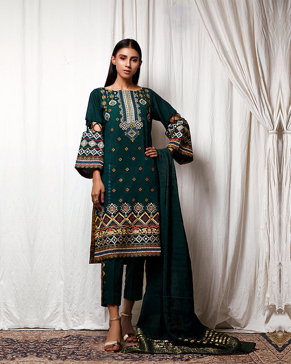 Embroidered Khaddar Suit (NEL-20642) 3 Pcs