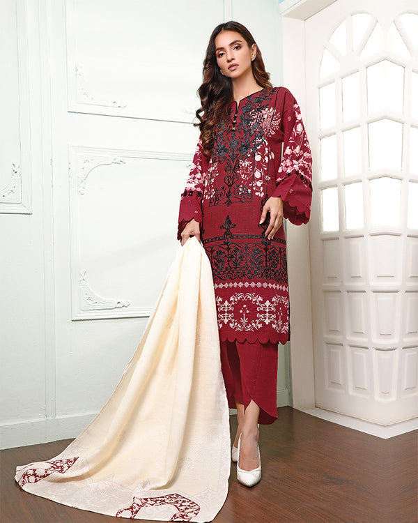 Embroidered Khaddar Suit (NEP-20908) 3 Pcs