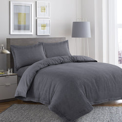 Anton Yarn Dyed 100% Cotton Herringbone Duvet Cover Set (Grey)