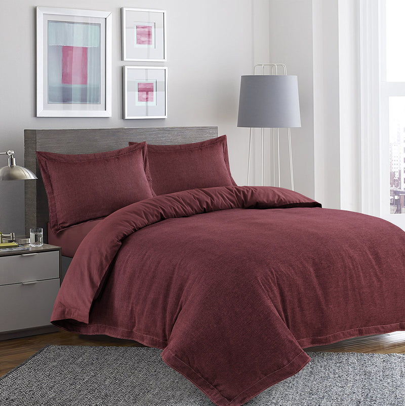 Anton Yarn Dyed 100% Cotton Herringbone Duvet Cover Set (Rust)
