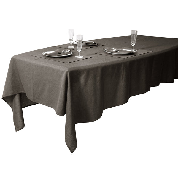 Anton Yarn Dyed 100% Cotton Herringbone Table cloth with Napkins and Table mats(Grey)