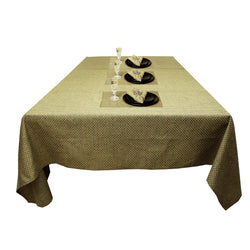 Clyde Dobby Dot Yarn Dyed 100% Cotton Table cloth paired Napkins and Table mats(Olive)