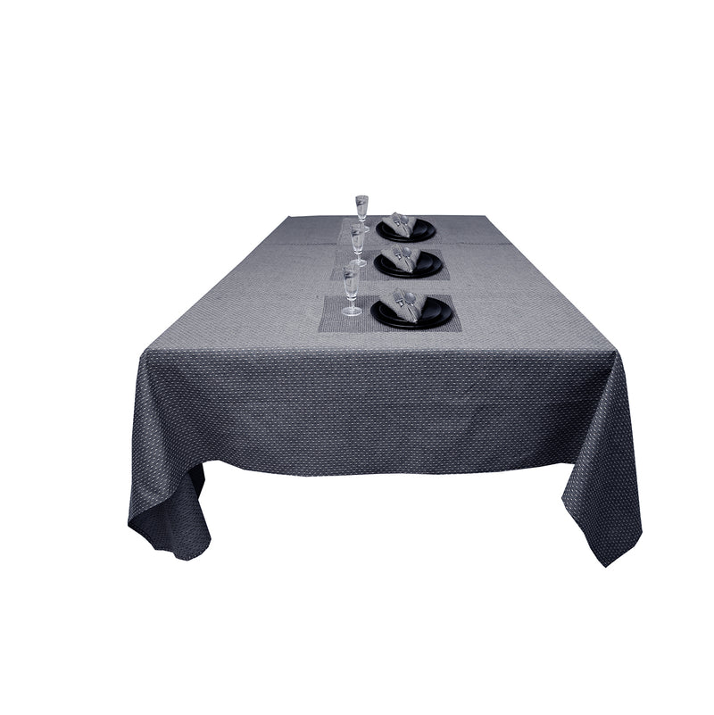 Clyde Dobby Dot Yarn Dyed 100% Cotton Table cloth paired Napkins and Table mats(Grey)