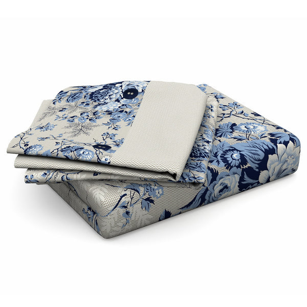 NIMSAY HOME EUGENE 100% COTTON FABRIC FLAT SHEET SET