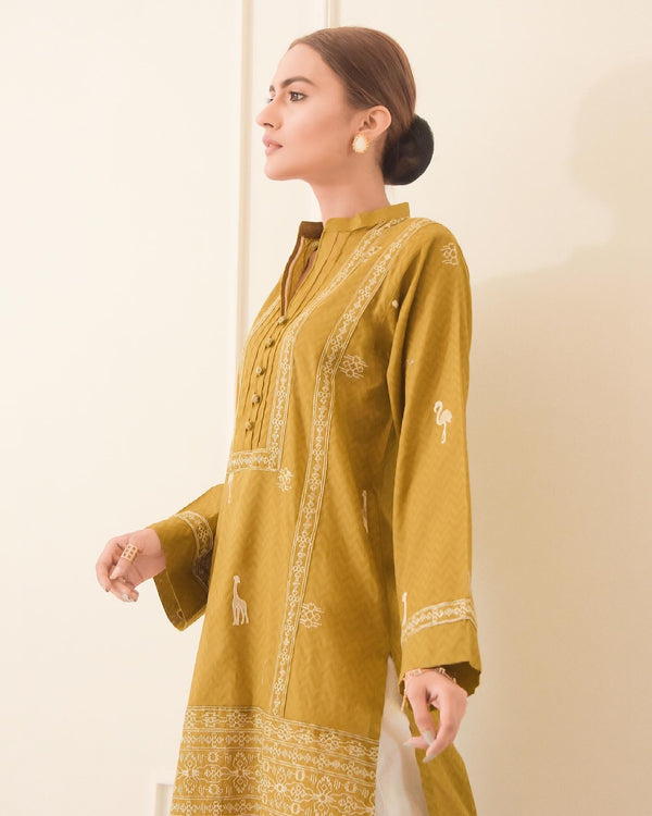 Olive Embroidered Lawn Kurta NPA1-21207