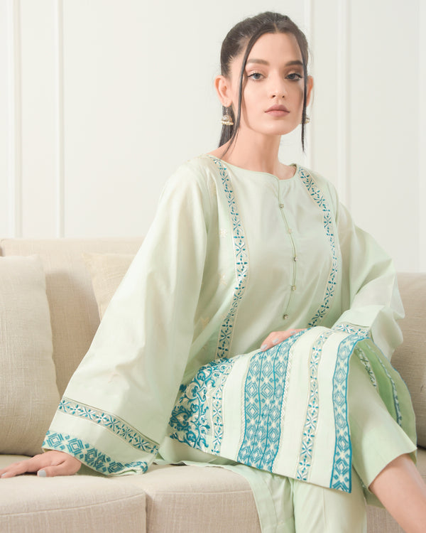Icy Mint Embroidered Lawn 2Pc NPA2-21311