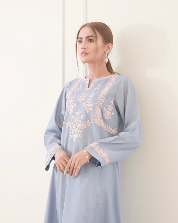 Picton Blue Embroidered Lawn Kurta NPA1-21204