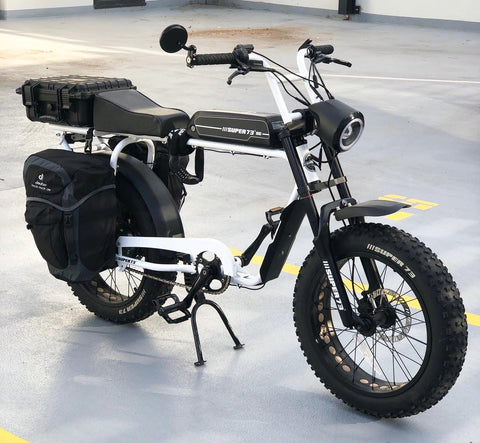 Electric bike fully loaded up for shopping