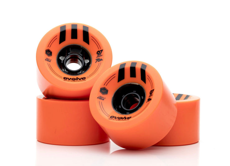 Front view of orange evolve 97mm street wheels