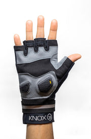 Front view of flatland fingerless glove palm side