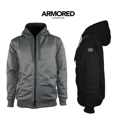 Armour Padded Hoodie in black & grey by lazy rolling
