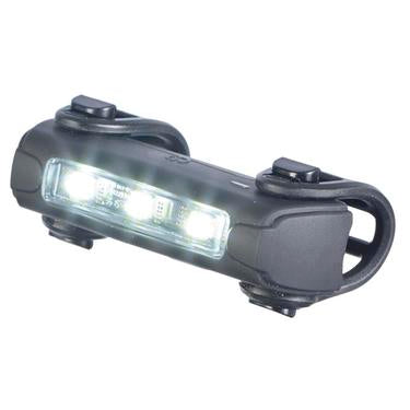 Bike light front by trident front view with lights turned on