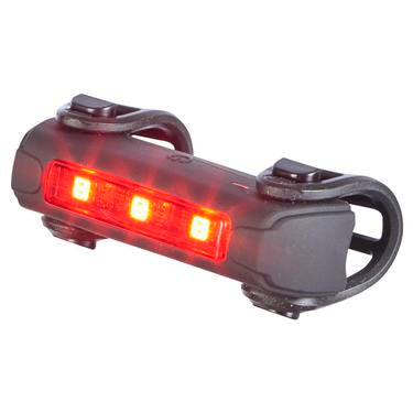Bike light rear by trident front view with lights turned on