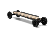 GTR Evolve bamboo electric skateboard with 7 inch AT wheels side angle view