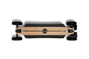 GTR Evolve bamboo electric skateboard with 7 inch AT wheels top view
