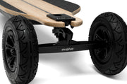Close up of AT wheels on GTR bamboo evolve skateboard