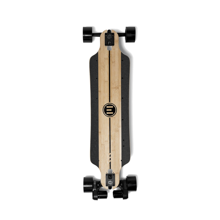 GTR Evolve bamboo electric skateboard with 97mm street wheels top view