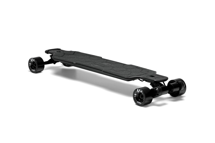 Side view of GTR Carbon electric skateboard with black 97mm street wheels by evolve