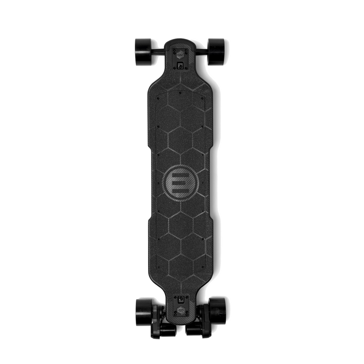 GTR Carbon electric skateboard with black 97mm street wheels by evolve
