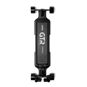 GTR Carbon electric skateboard with black 97mm street wheels underneath view by evolve