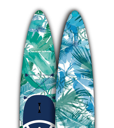 Close up of Lara Costafreda 12'6 board front and back