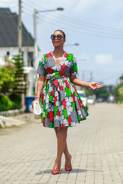 Angola African Print wrap dress in Red green and white
