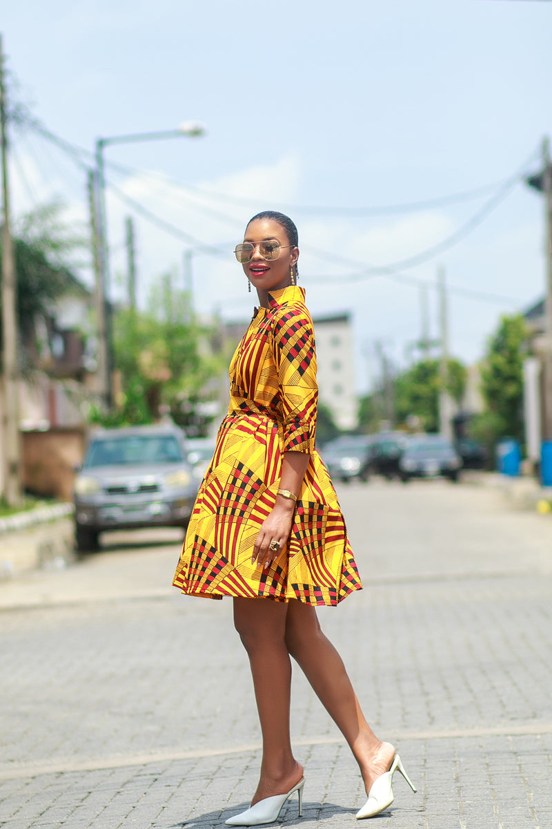 Lere African Print Shirt Dress in Yellow and burgundy