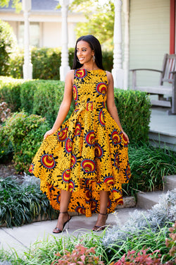 Sade  Yellow and Red Multicolored  Hilow Dress