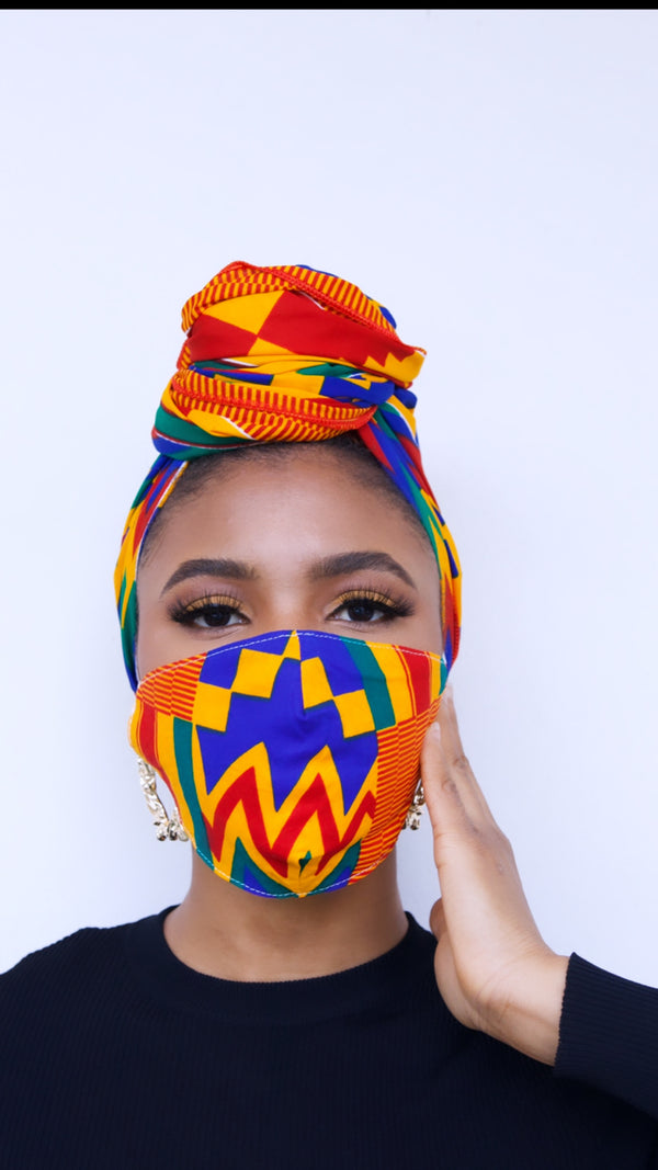 Asantewa Kente Face mask and head wrap set
