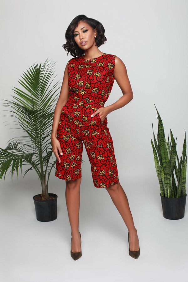 Kiara African Print Jumpsuit in Red