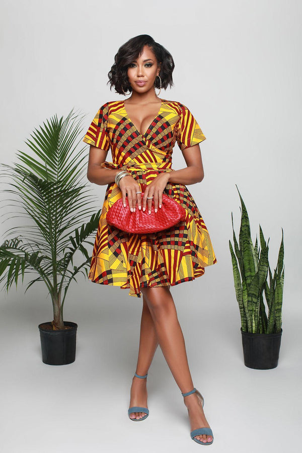 Neema Yellow African print dress