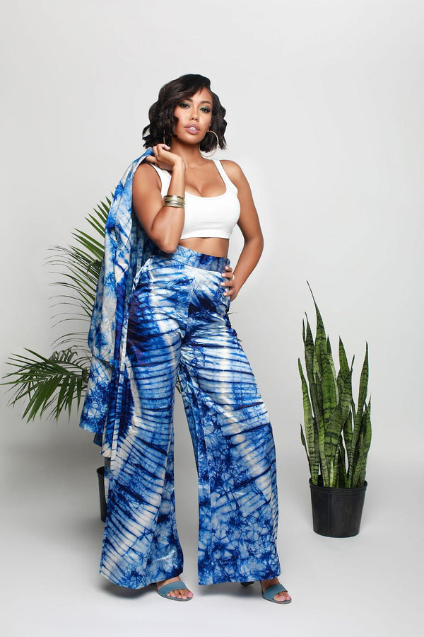 Kitan Set in Blue Tye and dye silk