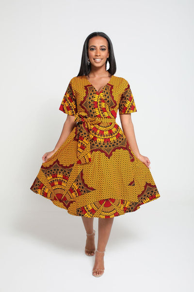 Ify African Print Wrap dress