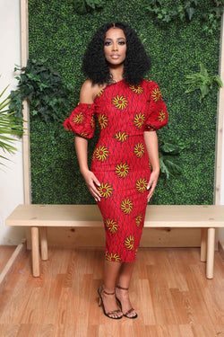 Semmy African print midi dress