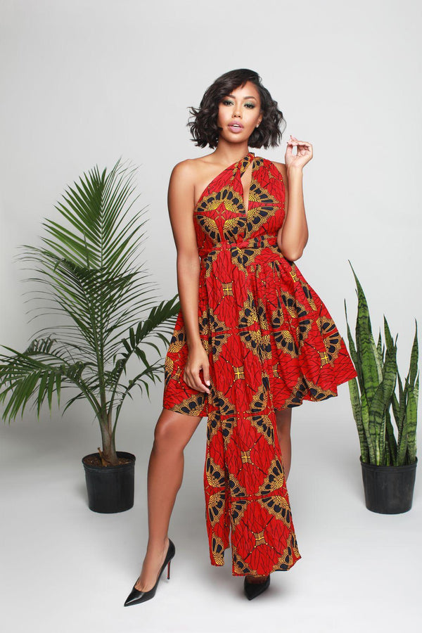 Savana Infinity dress in Red Multicolor print