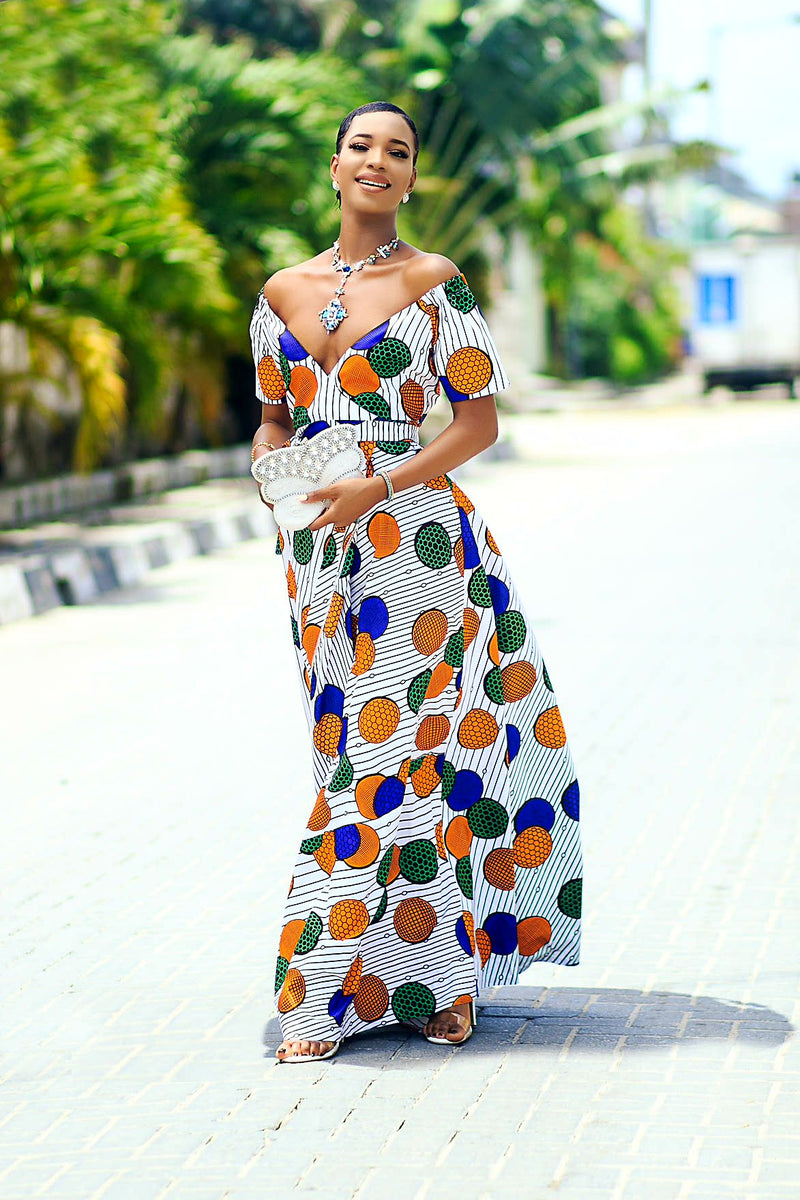 Nana African Print wrap dress.