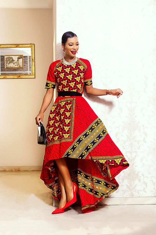 Amina Hi-Low African print dress