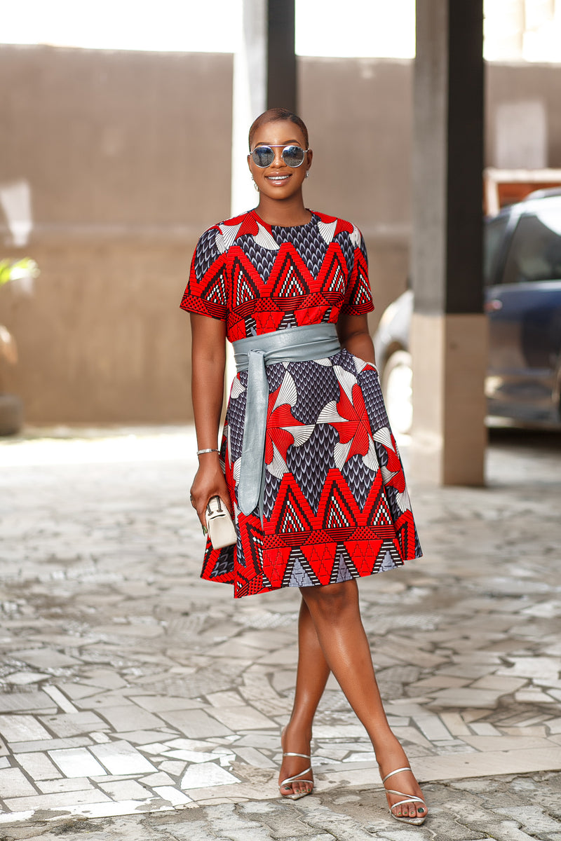 Nafi Red and Grey print dress