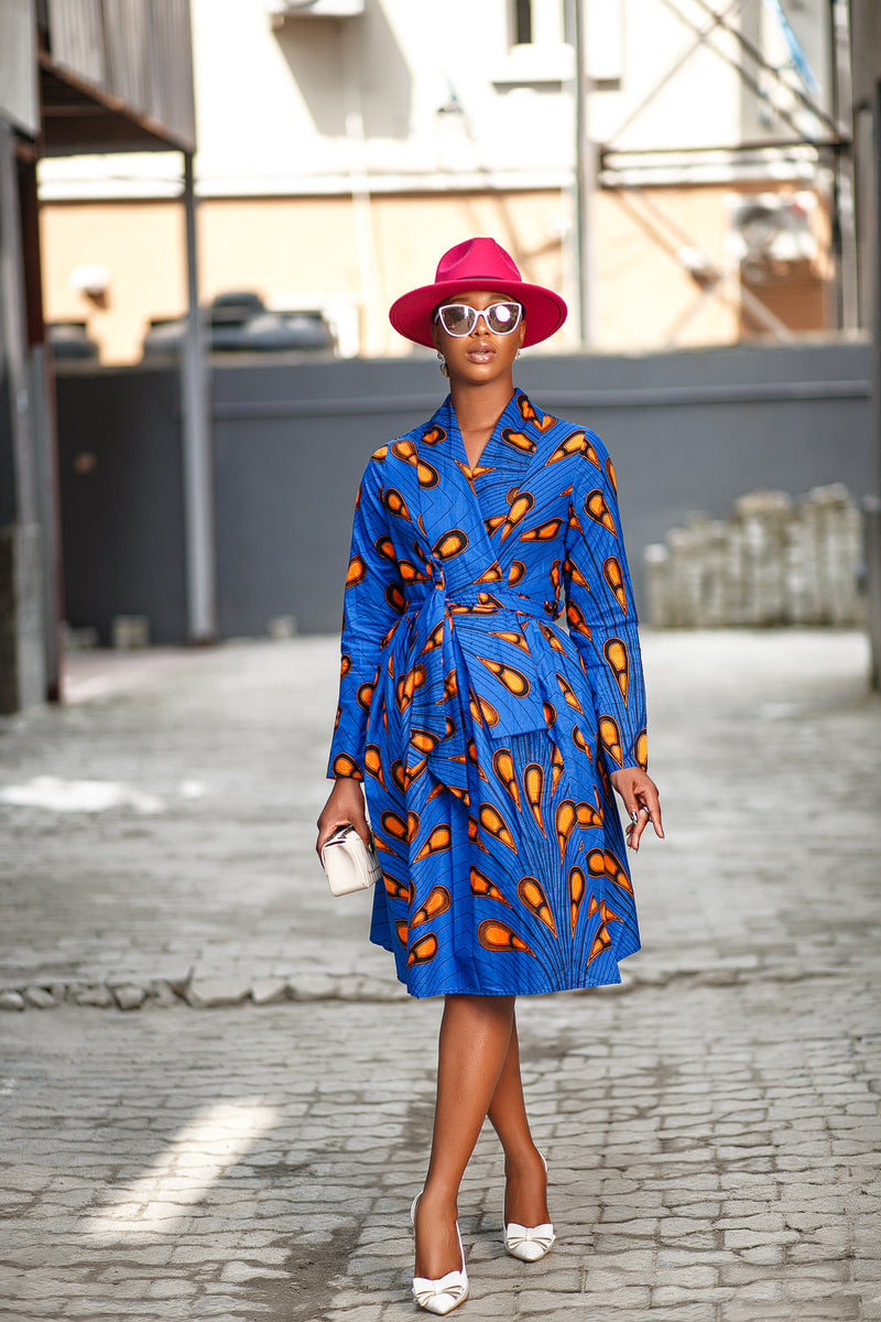 Funmi blue wrap dress
