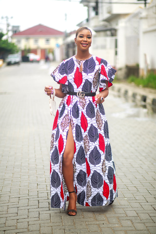 The Benue Maxi Dress in Red blue and white