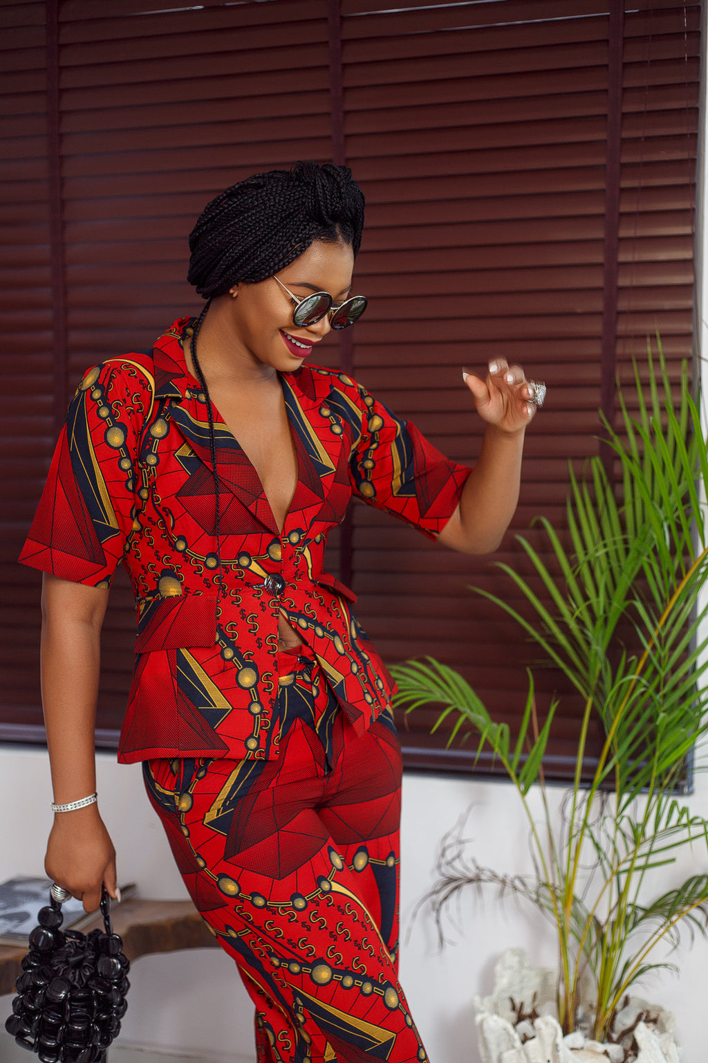 Yvette African Print Jacket and Pants Set