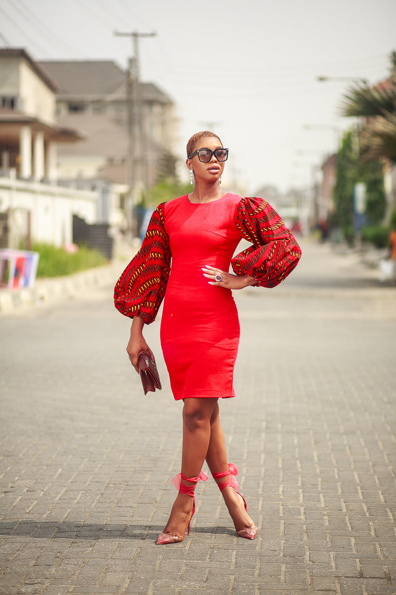 Kady Red fitted Dress