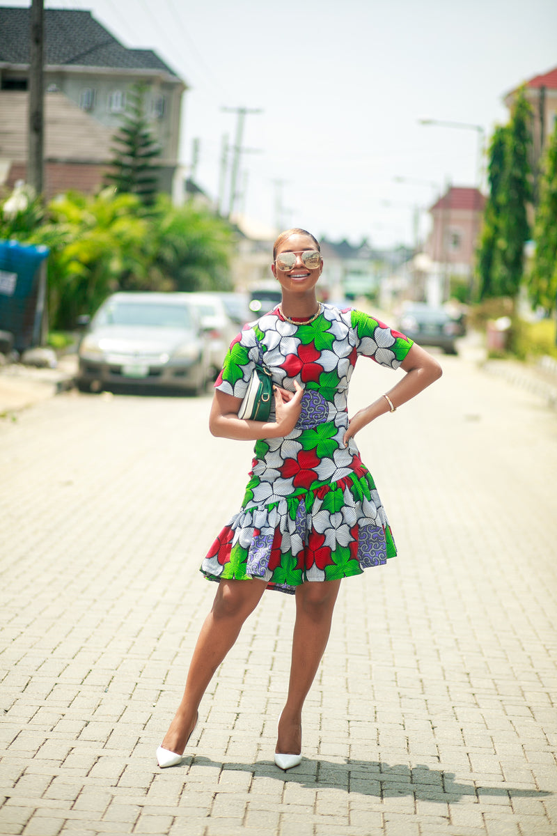 Arinola Side ruffle African print dress