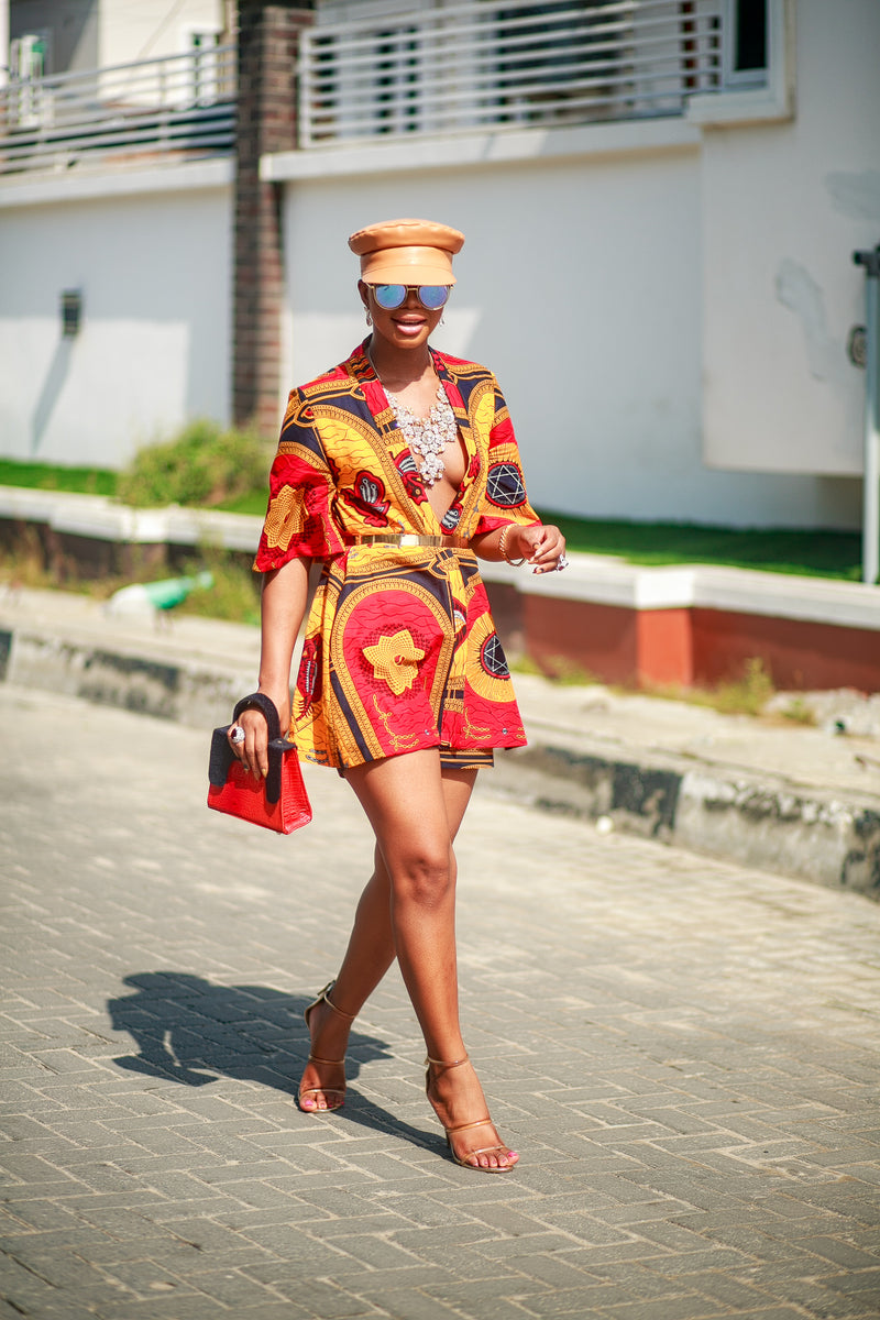 Kayla African Print Matching set in Red yellow and black